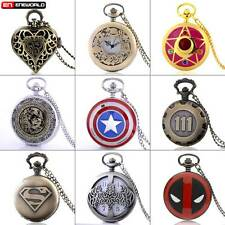 Vintage Retro Steampunk Antique Necklace Quartz Pocket Watch Pendant Chain Gift