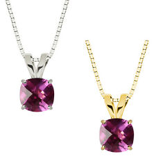 10k Gold Checkerboard Cushion Pink Sapphire Solitaire Pendant Necklace