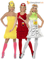 Ladies Sesame Street Costume Adults Big Bird Elmo Oscar Fancy Dress Retro Outfit