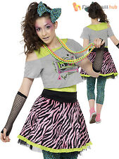 Ladies 80s Wild Child Costume Adults 1980s Fancy Dress Womens Hen Party Outfit