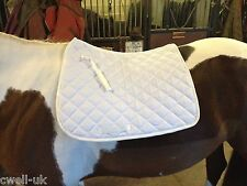 New Quilted 100% cotton Drilled jumping Saddle Pad Numnah WHITE FULL/COB/PONY