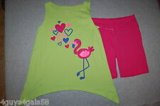 Girls Outfit LIME GREEN FLAMINGO TANK TOP Arched Hem PINK BIKE SHORTS 4 5 6 7  8