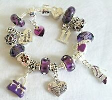 Dark PURPLE Handbag Shoe Dangle Beads Personalised & Age Charm Bracelet GIFT BOX