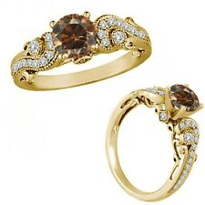 1 Ct Champagne Color Diamond Engagement Wedding Bridal Fancy Ring Yellow Gold