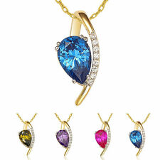 Suzy Levian Cubic Zirconia Sterling Silver Pear Shaped Pendant Neckalce