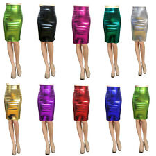 Women Pencil Skirt Shiny Metallic Liquid Wet look Party Stretchy S M L Clubwear