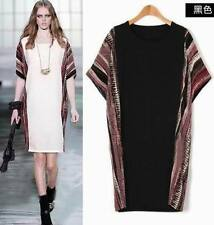 Hot Summer lady bat sleeves splice  tops Party dinner dress 2 colors plus size