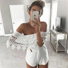 Women Summer Sexy Off Shoulder Lace Party Club Short  beach Jumpsuits Rompers