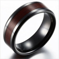 Black Ceramic Black/Brown/Gray Wood Inlay Men's Wedding Ring Band Jewelry