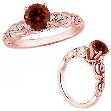1 Carat Red Color Diamond Fancy Solitaire Engagement Bridal Ring 14K Rose Gold