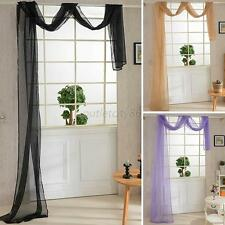 Pure Solid Window Curtain Drape Panel  Scarf Colorful Sheer Voile Valances U27