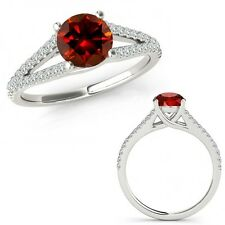 1 Carat Red Color Diamond Fancy Solitaire Engagement Wedding Ring 14K White Gold