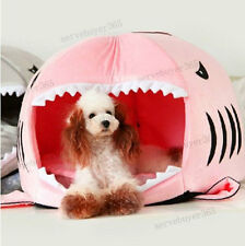 Pet Cat Dog Cave Bed Mat Removable Cushion Waterproof Bottom Shark Round House
