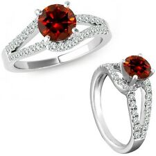 0.75 Ct Red Diamond Solitaire Promise Anniversary Bridal Ring 14K White Gold