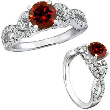 1 Carat Red Color Diamond Fancy Infinity Engagement Wedding Ring 14K White Gold