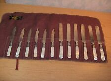 Landers Frary & Clark Knives Sterling Silver Bands Mother of Pearl Handles