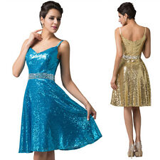 Deep V-Neck Sequins Spark Ball Formal Party Cocktail Prom Gown Homecoming Dress