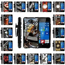 For Microsoft Lumia 650   Rugged Armor Belt Clip + Holster stand Case Guns Ammo