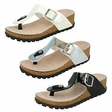 Ladies Summer Slip On Wedge Mule With Buckle Spot On Style-F10291