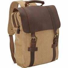 Men's Leather Canvas Backpack Laptop Bag Plus Free RFID Blocking Bifold Wallet