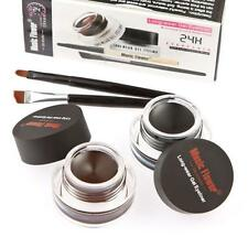 2Pcs Waterproof Eye Liner Eyeliner Shadow Gel Makeup Cosmetic Brush Brown Black