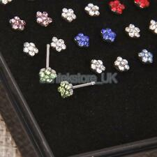 24pcs 20G Nose Piercing Surgical Steel Crystal Rhinestone Nose Stud Body Jewelry