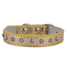 Leather Dog Collar Crystal Studded Small Collar Red Pink Purple Blue Gold Sliver