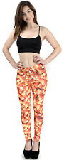 Juniors Halloween Leggings Candy Corn All Over Sublimated Junk Food Print