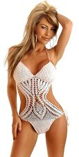 Crochet Monokini with Halter Top and Bottoms Sexy Swimwear Bathing Suit