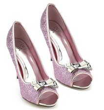 Delicious Pink Glitter Silver Bow Pump Stiletto High Heel Women's Shoes Idol