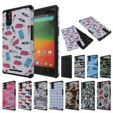For ZTE ZMAX Z970 T-Mobile Patterned TPU Hybrid Heavy Duty Soft Hard Case Cover