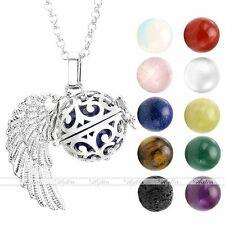 Natural Stone Angel Wing Locket Pendant Silver Chain Fragrance Diffuser Necklace
