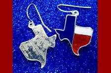TEXAS FLAG STATE EARRINGS Western Cowgirl Barrel Rodeo Patriotic USA 4th Jewelry