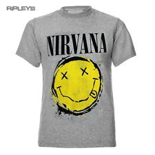 Official T Shirt NIRVANA Grey  Yellow Smiley Splat Logo All Sizes