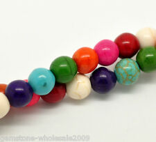 """Wholesale Lots Mixed Howlite Turquoise Round Loose Beads 8mm(3/8""""), 40cm long"""