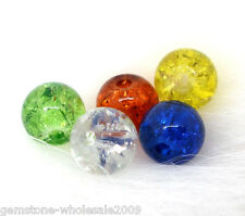 Wholesale Lots Mixed Crackle Glass Round Beads 6mm Dia.Findings
