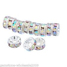 Wholesale W09 Clear AB Color Rhinestone Metal Rondelle Spacer Beads 8mm