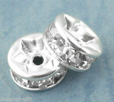 Gift Wholesale Silver Plated Rondelles Rhinestone Spacers Beads 6mm Dia.