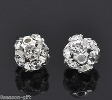 Gift Wholesale Silver Plated Filigree Rhinestone Balls 6-7mm Dia