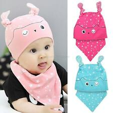 Toddler Child Baby Warm Sleep Hat Cap + Baby Bib Towel Triangle Head Scarf Sets