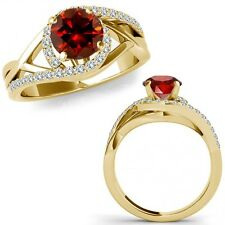 1 Carat Red Color Diamond Crossover By Pass Solitaire Ring Band 14K Yellow Gold