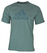 Adidas Crew Essentials Logo Tee Mens ClimaLite Cotton Shirt T-Shirt Grey
