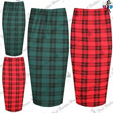 Womens Ladies Elasticated High Waist Tartan Print Stretch Party Midi Dress Skirt