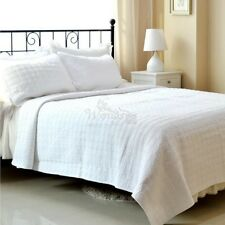 White Coverlets Patchwork Quilted Bedspreads Set Queen/King Size Bed Linen New