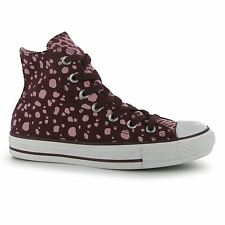 Converse All Star Ox Animal Print Hi Tops Trainers Womens Burgundy/Pink Sneakers