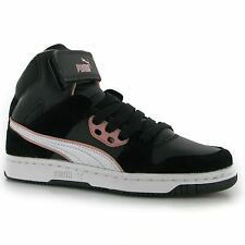 Puma Rebound High Top Trainers Womens Black/Pink Fashion Casual Sneakers Shoes
