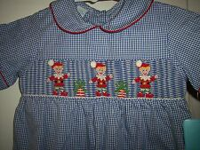 NEW Claire & Charlie Smocked Christmas Outfit 18 12 months gift elf gingerbread