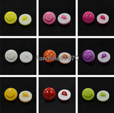 100pc 1-Hole Crafting Acrylic Shank Buttons Flat Round Smile Face Sewing Buttons