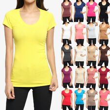 TheMogan Plain Basic Scoop Neck Short Sleeve Stretch Cotton Tee T-Shirts
