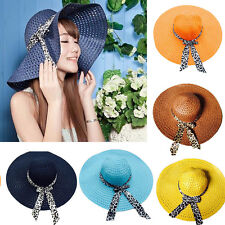 Women Girl Floppy Derby Straw Hat Wide Large Brim Sun Summer Beach Hat CV